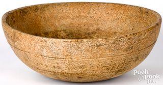 Large New England burl bowl, 19th c.
