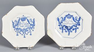 Two English delft Merry Man octagonal plates
