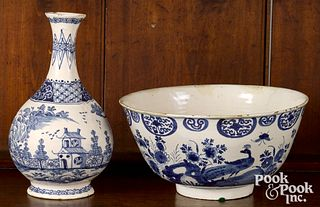 Delft blue and white bowl and water bottle