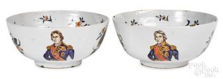 Important pair of English delft bowls, ca. 1806