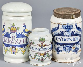 Three Delft apothecary jars, 18th c.