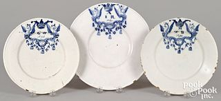Three Delft armorial marriage plates, 17th c.