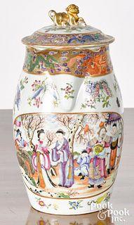 Chinese export porcelain famille rose cider jug