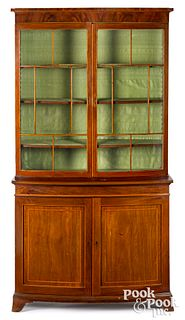 George III mahogany two-part bowfront bookcase