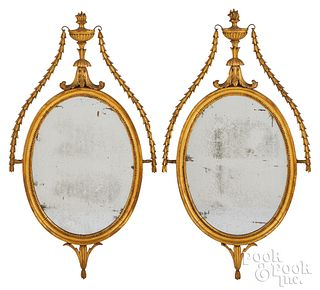 Pair of George III giltwood mirrors, late 18th c.