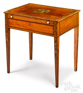 English Adams style satinwood work table