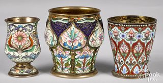 Three Russian silver enamel cups