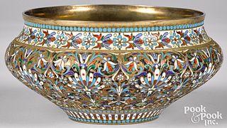 Russian silver enamel bowl