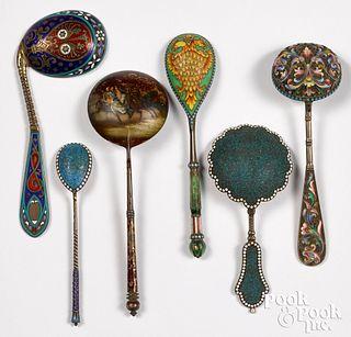 Six Russian silver enamel spoons