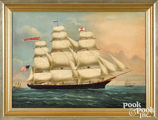 China Trade oil on canvas of an American ship