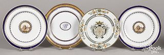 Four assorted Chinese export plates and bowls