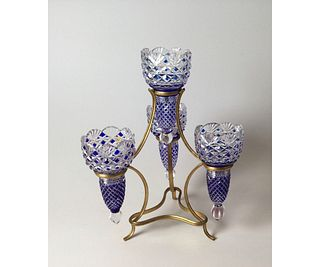 Baccarat Crystal Blue Cut to Clear Epergne