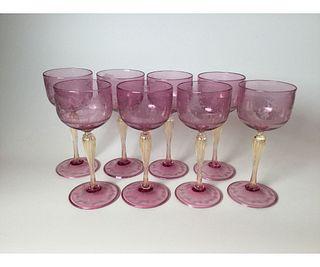 Set of 8 Venetian Etched Wine Glasses