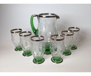 Heisey Lemonade set with 6 Glasses