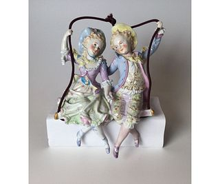 Porcelain Boy and Girl on Swing