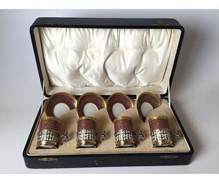 Set of 4 Limoges Demi Cups & Saucers with Sterling Holders in Box