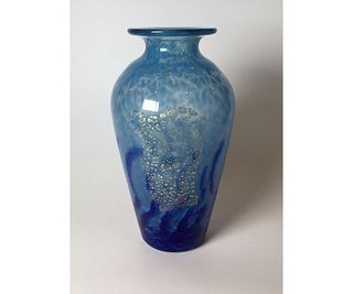 Daum & Nancy Blue Gold Art Glass Vase