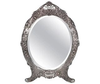 Antique Tiffany Repousse Sterling Silver Standing Vanity Mirror, circa 1900