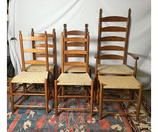 Set of  5 Shaker Style Chairs and Ottoman