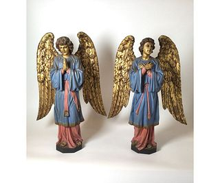 Pair Of Polychrome Wooden Angels