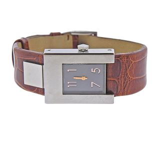 Pomellato Silvered Dial Brown Leather Lady's Watch