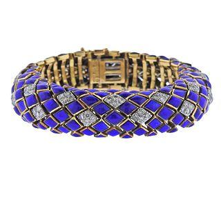 David Webb Blue Enamel Diamond 18k Gold Platinum Bracelet