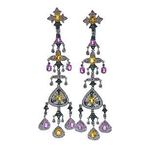 18k Gold Tsavorite Sapphire Diamond Chandelier Earrings