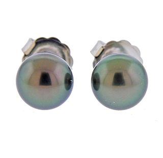 Mikimoto 10mm Tahitian Pearl 18k Gold Stud Earrings