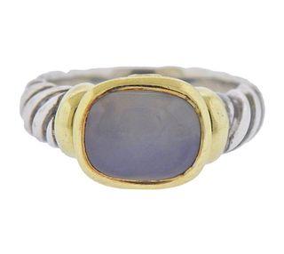 David Yurman 14k Gold Silver Chalcedony Cable Ring