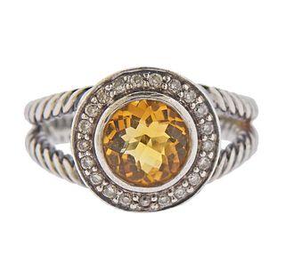 David Yurman Sterling Silver Diamond Citrine Ring