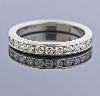 Tiffany & Co Platinum Diamond Half Wedding Band Ring