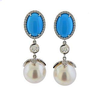 18k Gold South Sea Pearl Turquoise Diamond Earrings