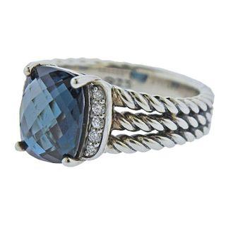 David Yurman Sterling Silver Blue Topaz Diamond Wheaton Ring