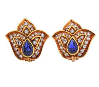 Harry Winston 18k Gold Diamond Sapphire Earrings