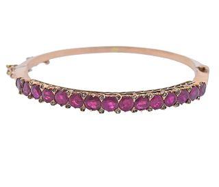 Antique 18k Gold Ruby Diamond Bangle Bracelet