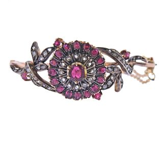 Antique Gold Ruby Diamond Silver Bracelet