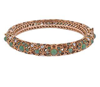 Van Cleef & Arpels Gold Emerald Pearl Bracelet