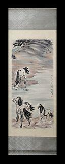 Xu Beihong, Horses Vertical-Hanging Painting