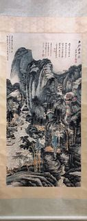 A Chinese Vertical-Hanging Painting, Zhang Daqian Mark