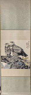 "Xu Beihong, ""Eagles"" Vertical-Hanging Painting"