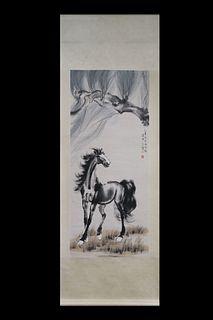 "Xu Beihong Mark, ""Horse"" Vertical-Hanging Painting"