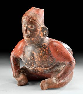 Colima Bi-chrome Redware Seated Hunchback Figure