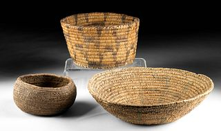 Three 19th C. Native American Woven Fiber Baskets