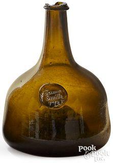 English blown olive glass squat bottle