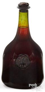 English blown olive glass wine bottle