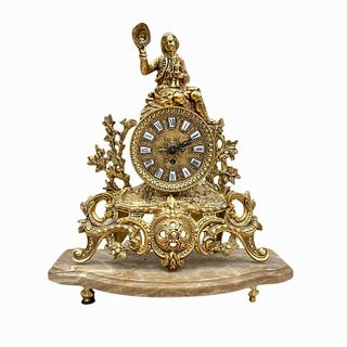 Vintage French Style Polished Brass Table Clock