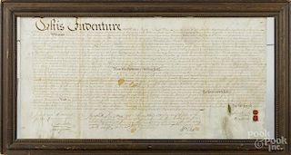 Philadelphia ink on vellum deed, dated 1746, from Andrew Hamilton to Richard Nailor, 12 3/4'' x 25''.