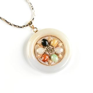 """A CHINESE VARIOUS JADES AND HARDSTONES 14K YELLOW GOLD """"FU"""" PENDANT, LATE 20TH CENTURY,"""