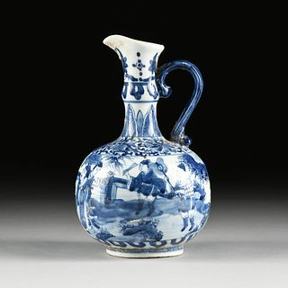 A KANGXI BLUE AND WHITE PORCELAIN EWER, SHIPWRECK ARTIFACT, LEAF MARK, 1661-1722