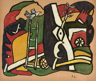 """after JOSEPH FERNAND HENRI LÉGER (French 1881-1955) AN EMBELLISHED PRINT, """"Untitled,"""" MID/LATE 20TH CENTURY,"""